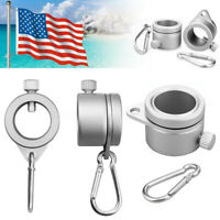 2Pc Alloy Metal Flag Pole Flagpole Rotating Ring Clip Anti Wrap Grommet Mounting