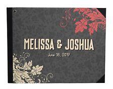 Darling Souvenir Grey Leaves Printed Wedding Guest Book Hardbound-D1f