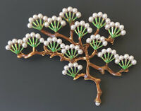 Vintage style Japanese tree Brooch Pin in enamel on metal