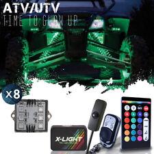 8PC LED ATV UTV QUAD 4 WHEELER UNDER GLOW LIGHT KIT w REMOTE + SWITCH BRAKE MODE