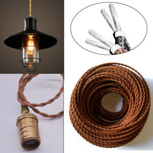 1M Vintage Twist Braided Fabric Light Cable Electric Lamp Cords 2 Core coffee