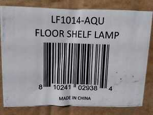 63.3'' Aqua Floor Lamp Organizer Store Shelf w/Linen Shade by Simple Designs
