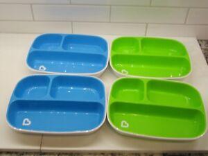 Munchkin Splash Set 4 Piece lot Toddler Divided Plates,Blue/Green,Stay put