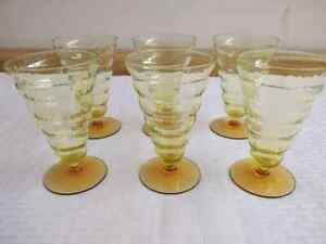 6 pc. vtg. vertical ribbed/segmented yellow/green/amber colored drinking glasses