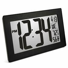 Marathon CL030068BK-BS Slim Panoramic Atomic Wall Clock with Table Stand