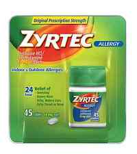 Zyrtec Allergy 10 mg Tablets 45 ea (Pack of 5)