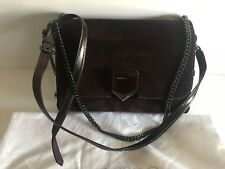 JIMMY CHOO LOCKETT CITY SUEDE LEATHER BURGUNDY PURSE CROSSBODY BAG NWT $1665.00