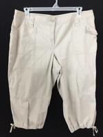 Style & Co capris pants size 18 tan khaki 4 pockets cargo 39 x 20 tie hems
