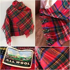 "Vintage Wool Stewart Royal Tartan Throw Blanket Shawl Plaid Check Large 67"" Long"