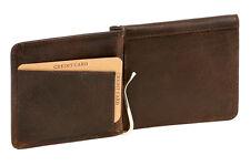 Dollar- & Money Clip Geldscheinklammer Vintage-Style LEAS in Echt-Leder, braun