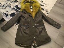 River Island Women's Coat Fur Lined Multicolor Hooded Parka Style size U.K. 16