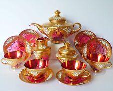Antique Bohemian Czech Moser Cranberry Glass Teapot 6 Cups/Saucers Sugar Creamer