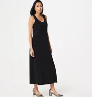 Susan Graver Liquid Knit Sleeveless Maxi Dress - Black - 2X