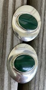 ED LEVIN STERLING SILVER CABOCHON MALACHITE PIERCED ABSTRACT EARRINGS SIGNED