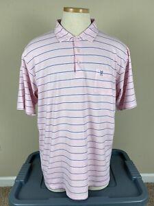 B Draddy Pink Blue Striped Polo Golf Shirt Myers Park Men's Size XL