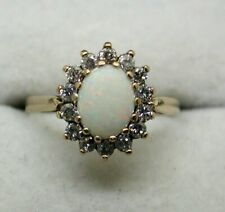 Beautiful 9 carat Gold Opal And Cubic Zirconia Cluster Ring Size N