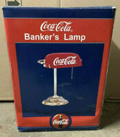 Vintage Coca Cola Banker's Desk Lamp W/ Red Shade 1998