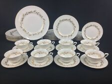 Royal Worcester Saguenay 40-Piece Set for EIGHT (8) Gold White Leaves Flowers