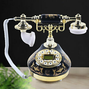 Vintage Ceramic Telephone Old Fashioned Desk Rotary Dail Phone Multi-function US