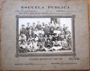 Cuba/Cuban 1942 School Photograph w/Black Students, Original 10x8 on Board