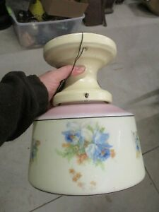 ANTIQUE LIGHT FIXTURE WITH GLASS GLOBE SHADE IRIS SCHOOL HOUSE FRANKLIN POTTERY