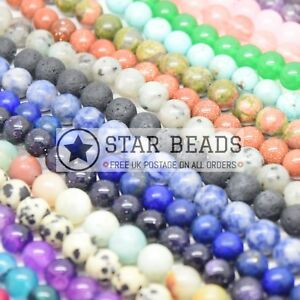 SMOOTH ROUND NATURAL GEMSTONE BEADS STRAND 4MM, 6MM, 8MM, 10MM - PICK COLOUR