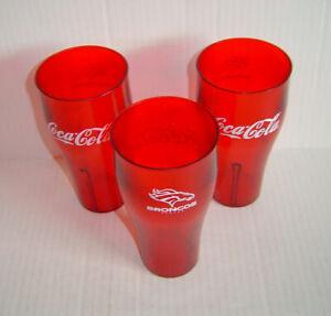 Denver Broncos Restaurant Style Plastic Drinking Glasses Coca-Cola Lot Of 3 New