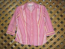 Ninety Pink & Yellow Striped Stretch Cotton Blouse / Top Size M NEW