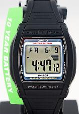 Casio Digital Illuminator Watch W-201-1AV with 2 Time-Zones 10 Year Battery New