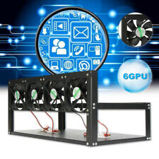 6 GPU Mining Rig Steel Stackable Case + 4 Fans Open Air Frame ETH ZEC Bitcoin