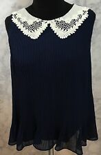LC Lauren Conrad Pleated Chiffon Top Crochet Collar Lined Size Medium Navy