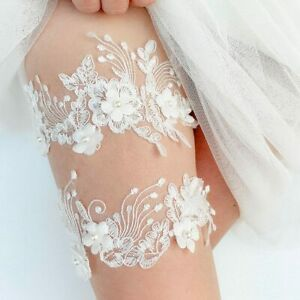Lace Bridal Garter With Pearl Details Wedding Garter Set Bridal Garter Set