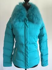 VERSACE Collection Turquoise Blue Down Feather Puffer Jacket Fur 40 US 2