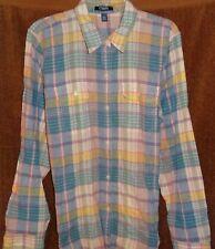 RALPH LAUREN Winter Linen WESTERN RANCH PLAID Pocket SHIRT BLOUSE XL 14 16 TAGS