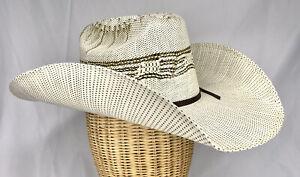 Cavenders Bangora Ranch Straw Cowboy Hat Used Ivory/light tan Mens Small