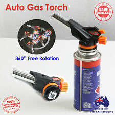 Butane Gas blow Torch Burner Auto Ignition BBQ Camping Cooking Chef 360 Rotate