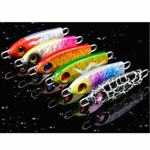 6x Colorful Metal Fishing lures Jigs Hard Swiming Jigging Bait Snapper Spoon 24g