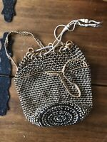 Vintage Wooden Bead Purse Market Bag Drawstring Woven Bucket Handbag Boho Hippie