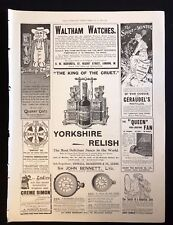 1899 Original Newspaper Advert Page WALTHAM WATCHES, YORKSHIRE RELISH, OATS