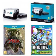 Nintendo Wii U Black Console + Super Mario bros + zelda twilight Princess Bundle