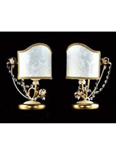 Pair Lamps From Bedside Table IN Leaf Gold And Crystal Of Elements Tp 171-LP1-18