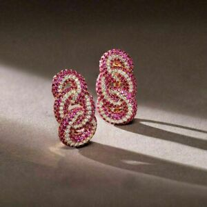 4ct Ruby & Diamond Engagement Wedding Twisted Earrings In 14k Rose Gold Finish