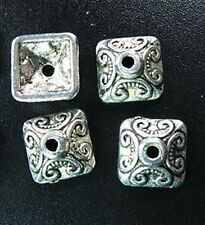 30pcs Tibetan Silver Ornate Square Beads Caps R893