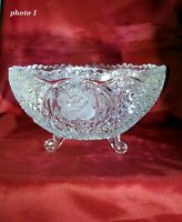 Pressed Glass Bowl - Heavy Glass - Etched Roses - Footed