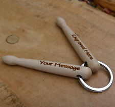 Personalised Drumstick Key ring - made from quality Hickory