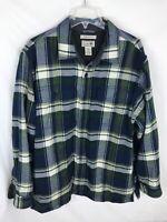 LL Bean Fleece Lined Flannel Men's Sz Large Plaid Button Shirt Jacket Green Blue