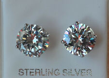 UK Made Sterling Silver Stud Earrings 10mm Round Created Diamond Men's Women's