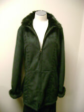 Nautica Black Faux Shearling Coat with Lioness Collar L NWT