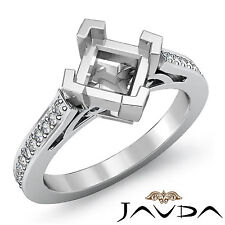 Pave Set Fine Diamond Engagement Ring Platinum 950 Princess Semi Mount 0.5Ct