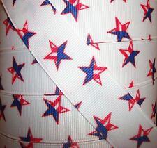 """5 yds 7.8"""" Red White Blue Patriotic Stars Grosgrain Ribbon"""